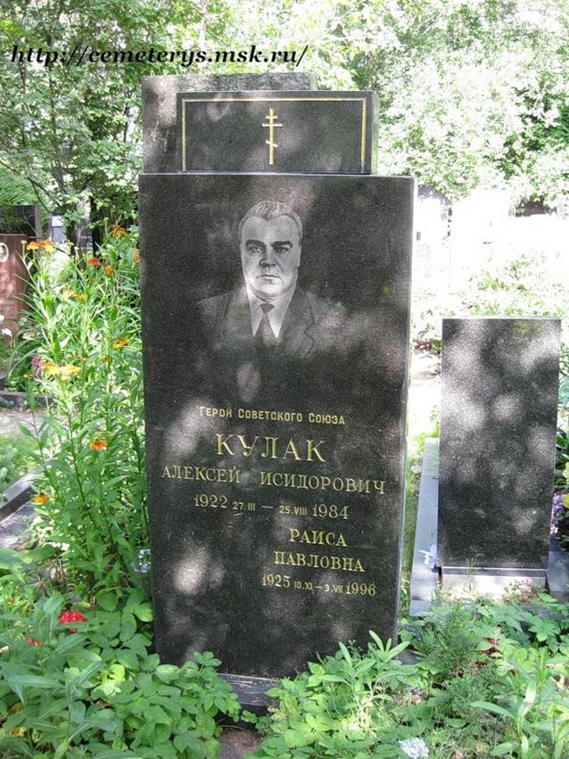 могила Алексея Кулака на Кунцевском Кладбище в Москве (фото Дмитрия Кондратьева http://cemeterys.ru/ )