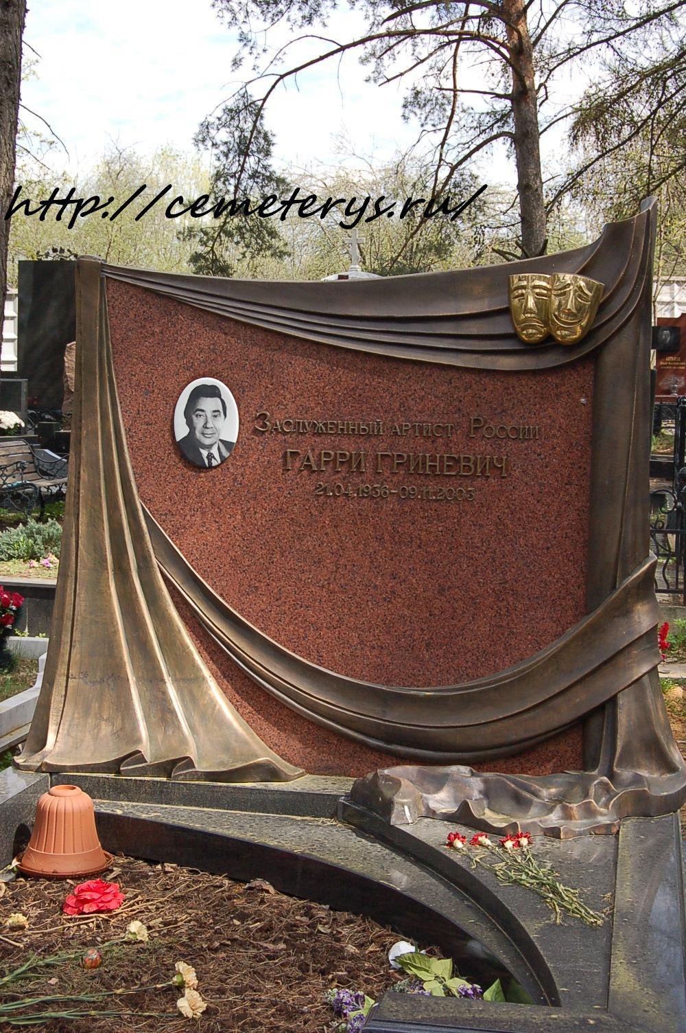 могила Гарри Гриневича на Троекуровском кладбище в Москве  (фото Дмитрия Кондратьева)