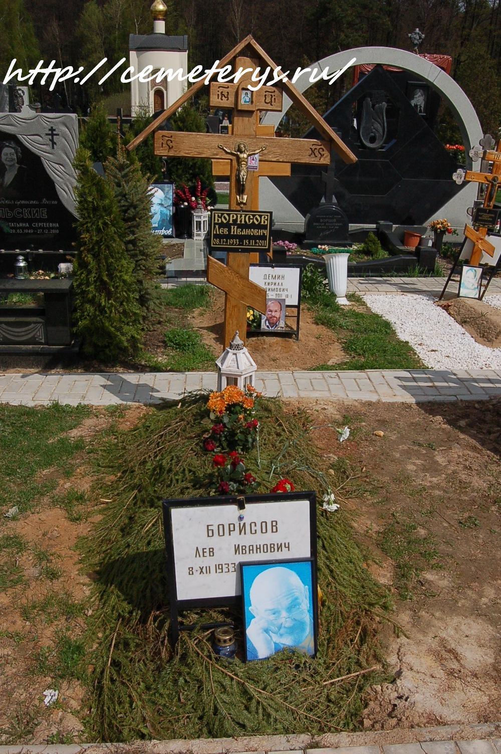 могила Льва Борисова на Троекуровском кладбище в Москве  (фото Дмитрия Кондратьева)