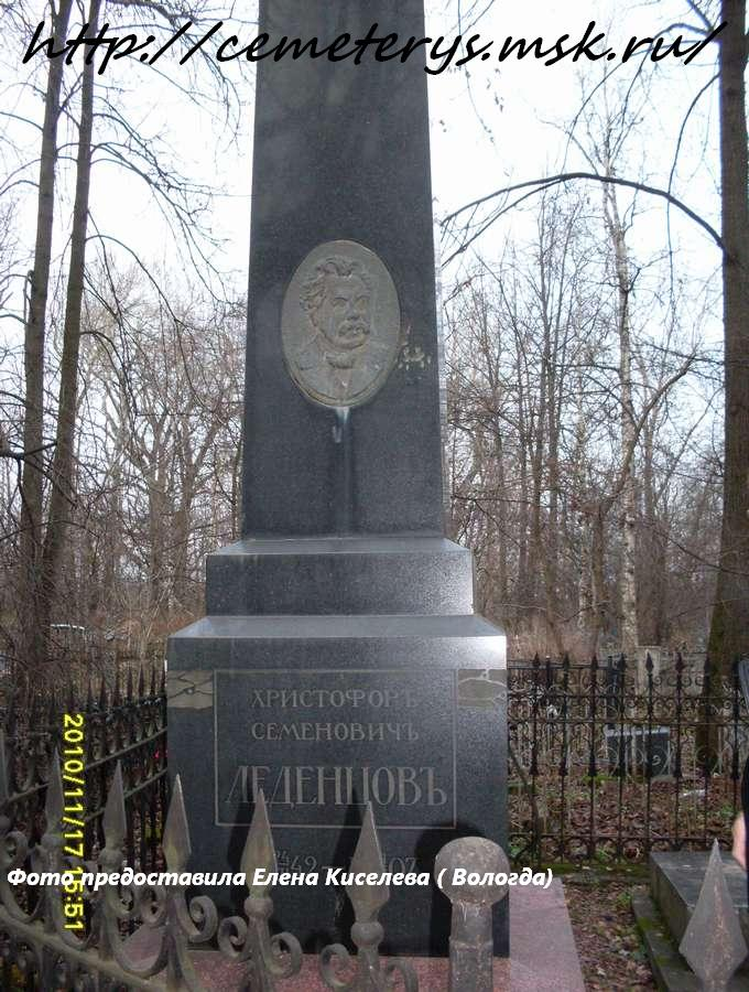 могила Христофора Леденцова (фото предоставила Елена Киселева ( Вологда)